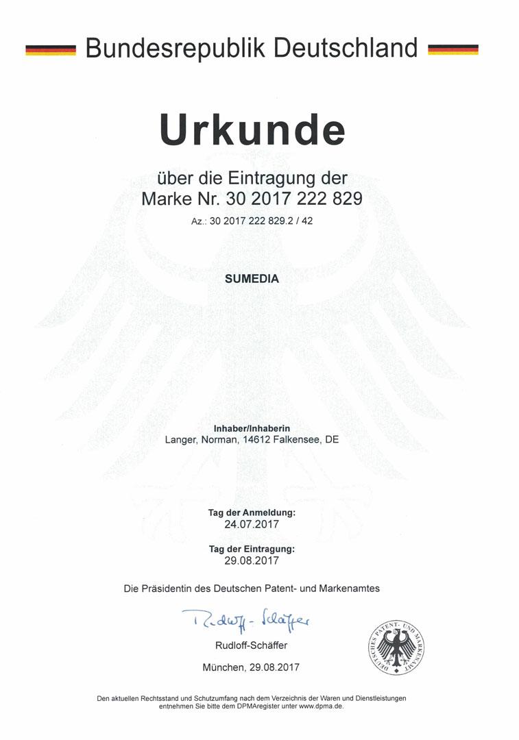 SUMEDIA ist seit 2017 eine offiziell anerkannte Marke