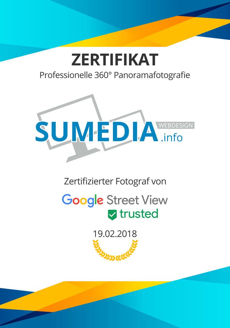 SUMEDIA ist zertifizierter Fotograf von Google Street View trusted im Bereich 360° Fotografie